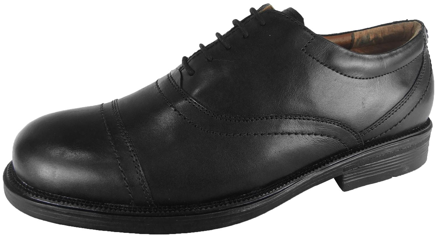 mens black leather smart formal dress oxford shoe size 6