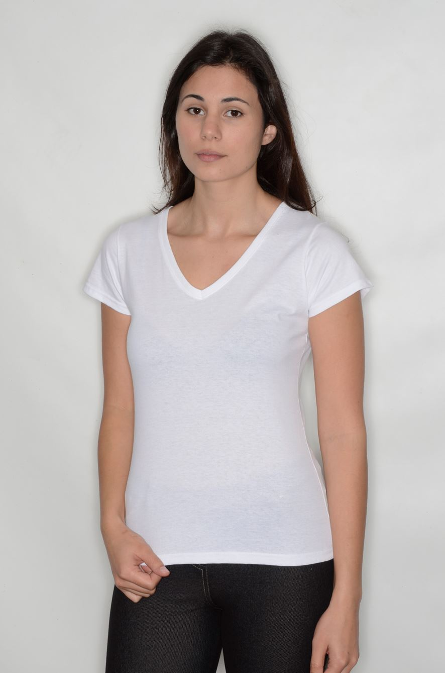 Fitted v neck t shirt cotton short sleeve top womens sexy for Best v neck t shirts women s