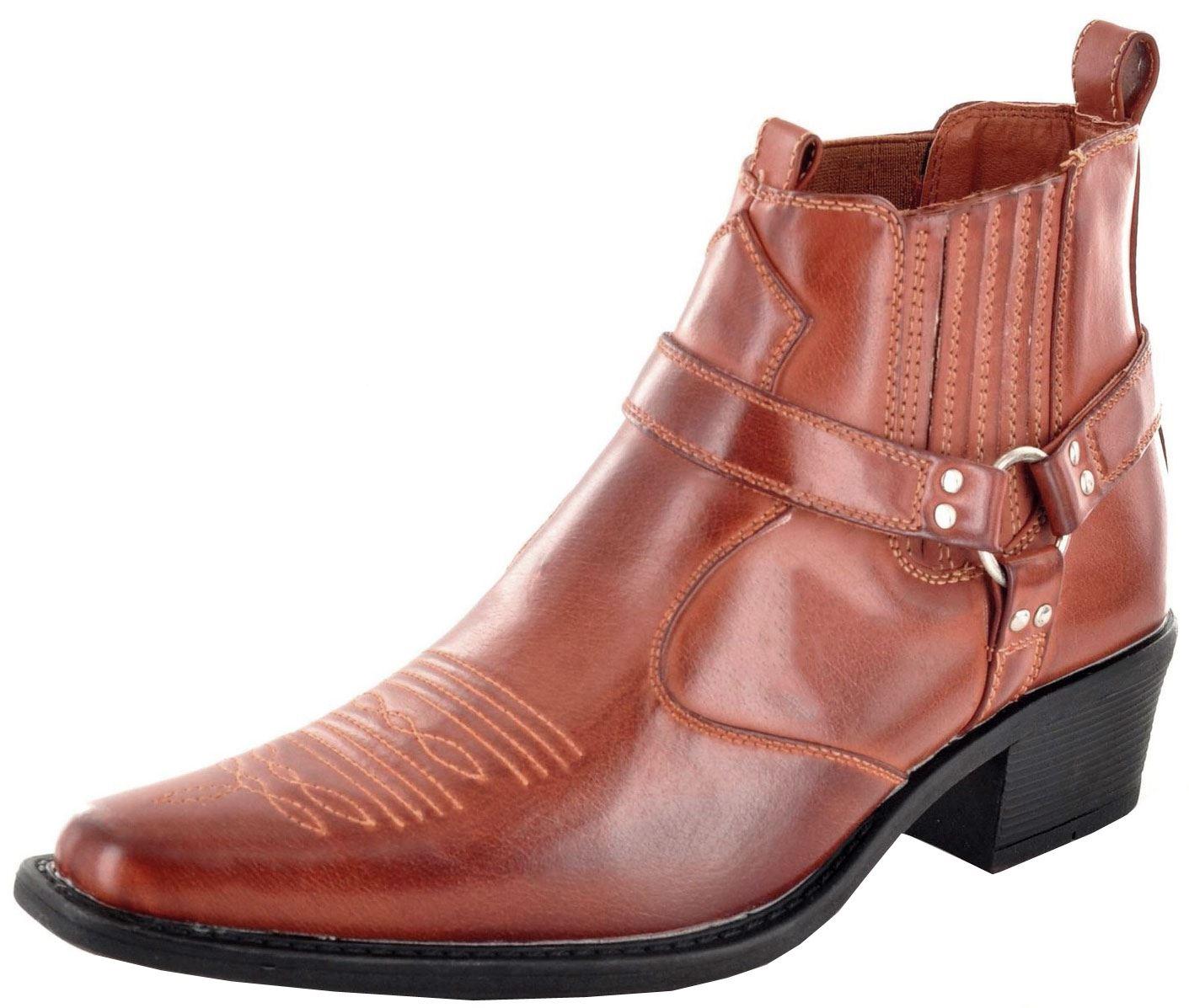 mens retro cowboy western boots cuban heel eastwood