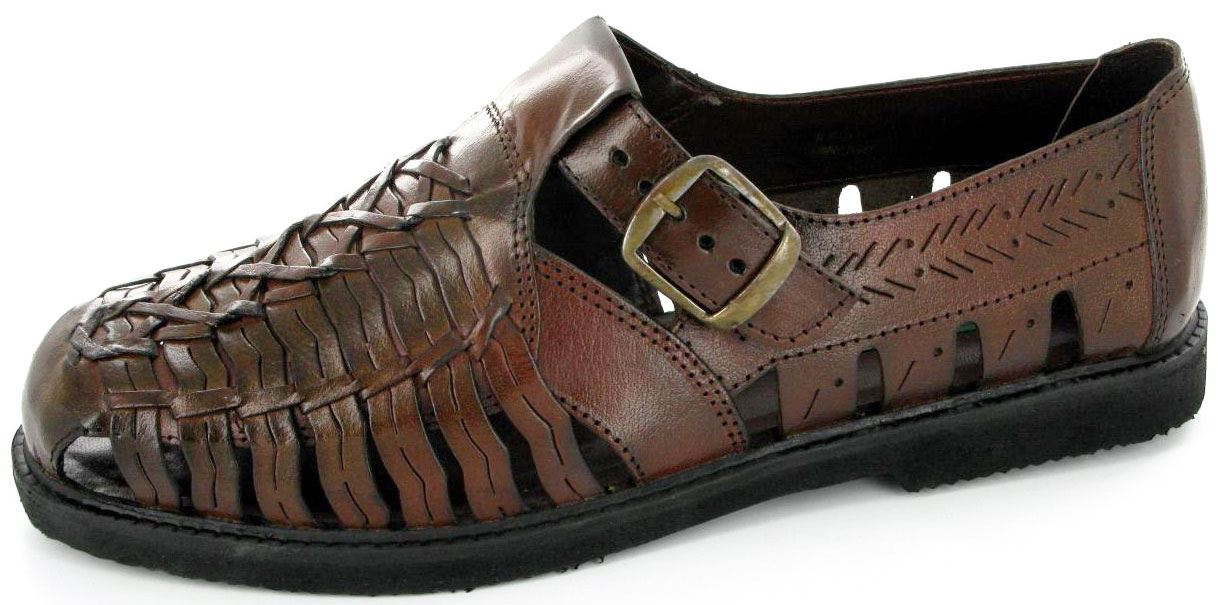 Mens-Smart-Interlaced-Weaved-Closed-Toe-Sandals-Evening-Shoe-Upper-Leather-Brown