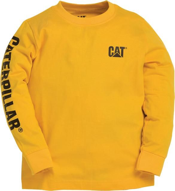 Caterpillar Kids Long Sleeved T Shirt Tee Shirts Yellow