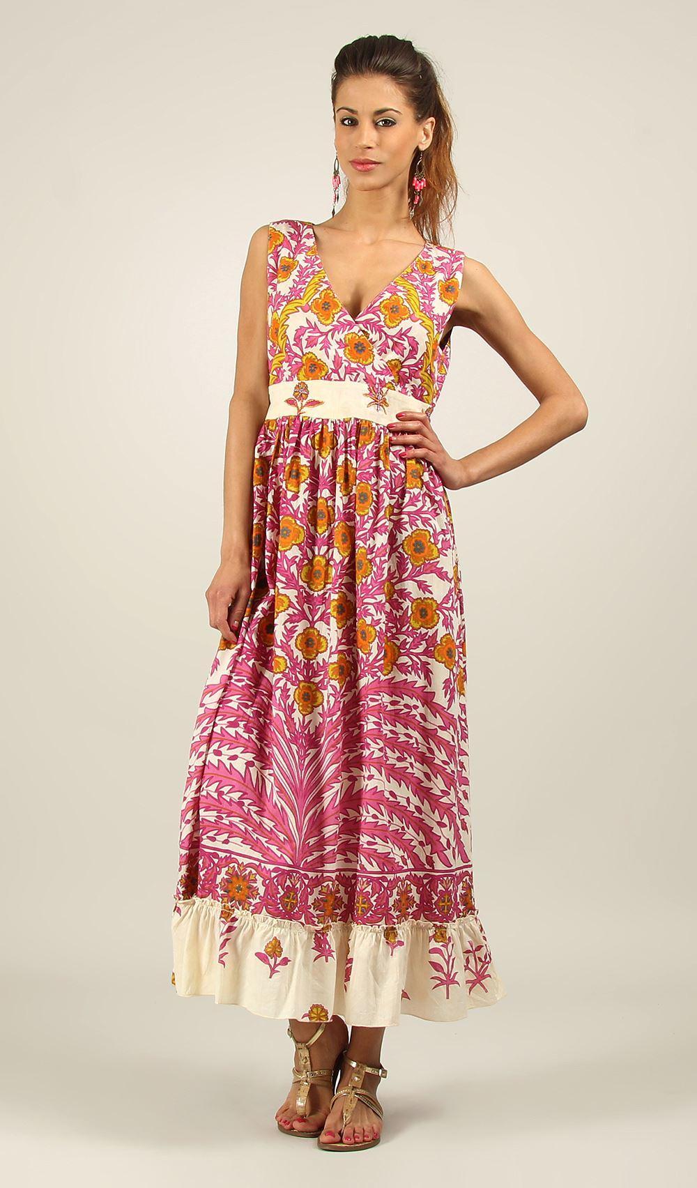 New-Ladies-Floral-Kushi-Summer-Vibrant-Holiday-Cotton-Maxi-Dress-Size-10-22