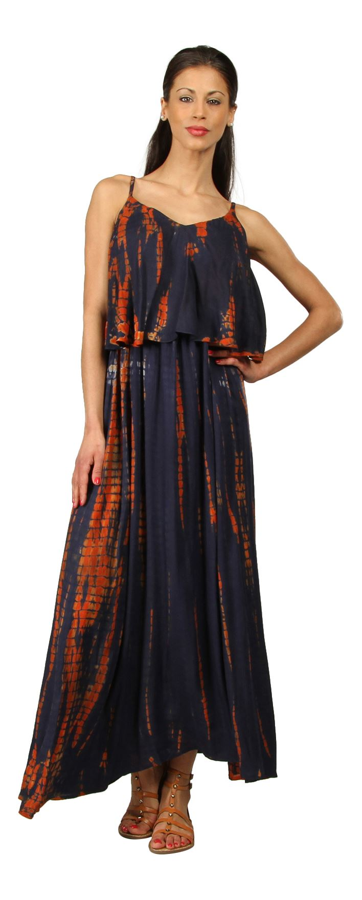 New-Womens-Kushi-Summer-Stylish-Dye-Print-Holiday-Maxi-Dress-Size-10-22