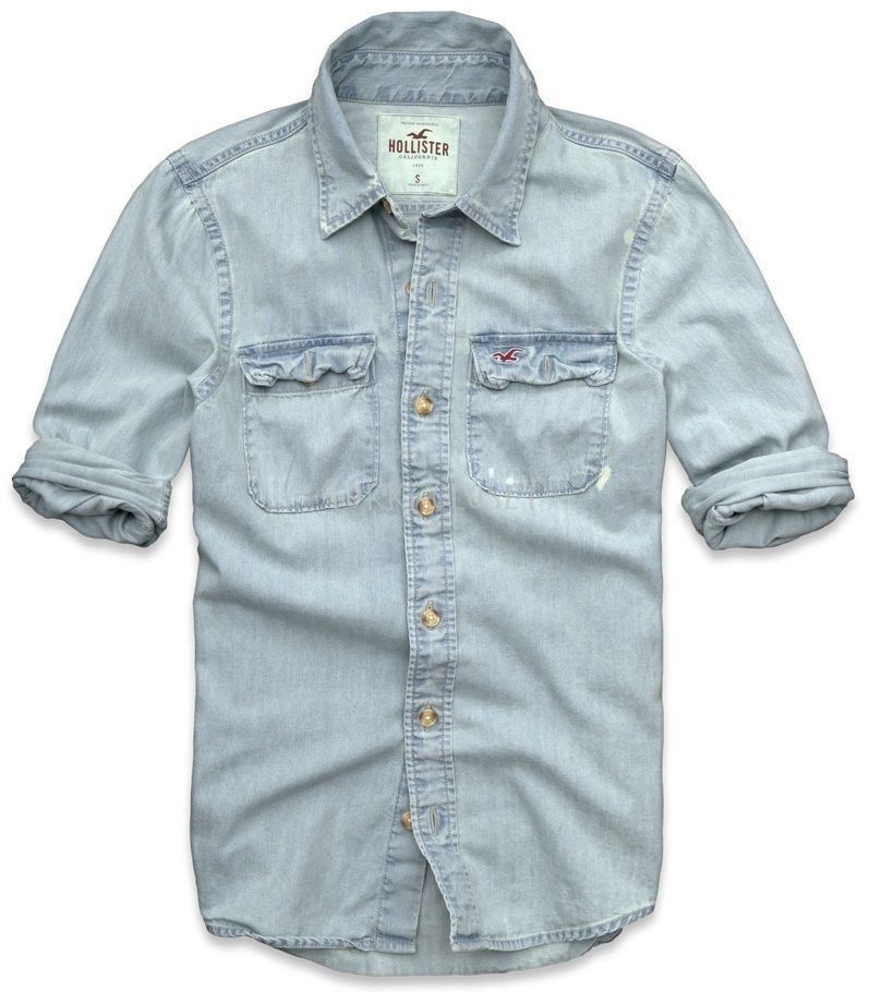 New Mens Hollister By Abercrombie Muscle Fit Denim Shirt ...