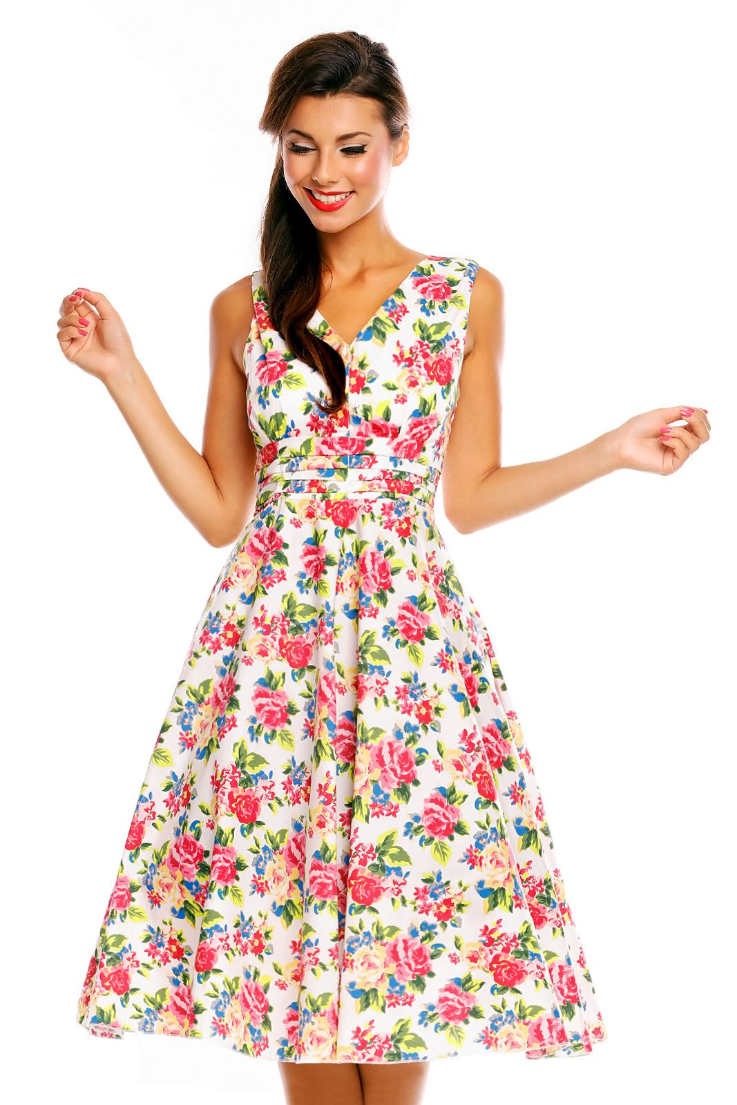 1950 039 s retro vintage inspired floral rose pin up swing party dress