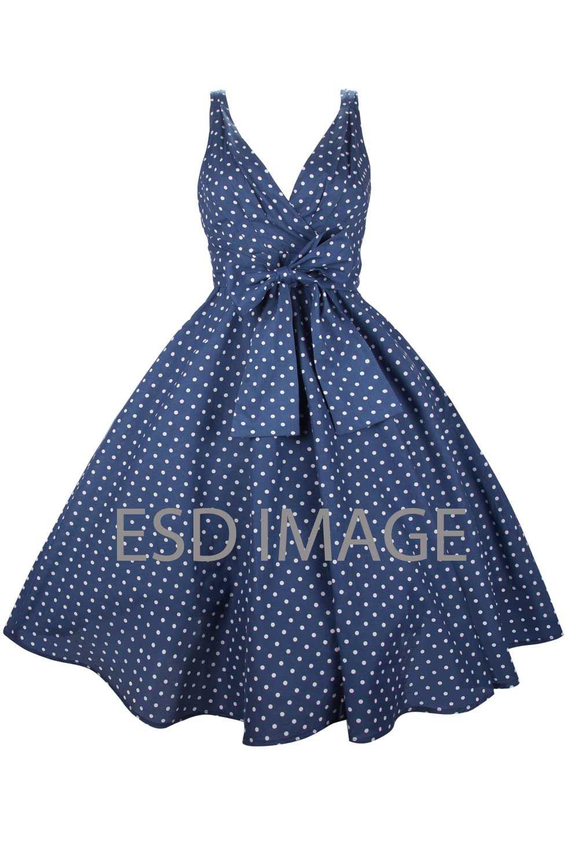 Ladies Kushi Vintage Retro Polka Dot 50s Rockabilly Party Dress Plus ...