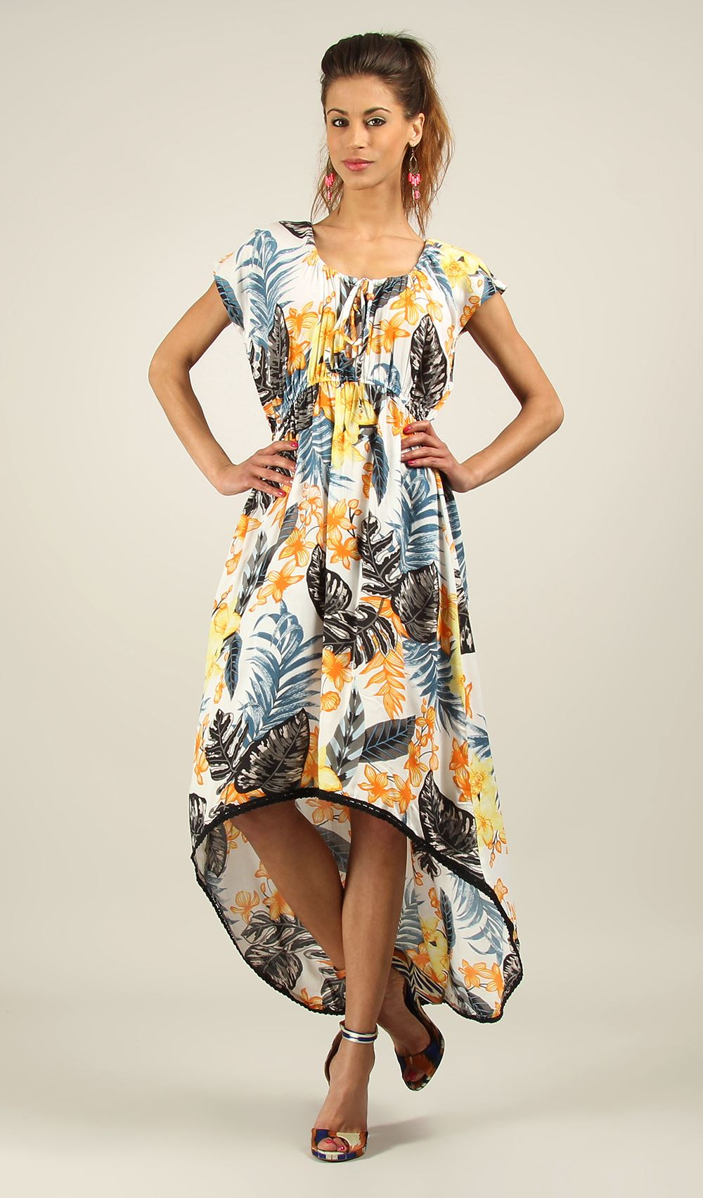 New-Kushi-Ladies-Long-Back-Midi-Front-Maxi-Summer-Party-Dress-Size-10-22