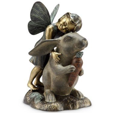 Happiness Fairy and Rabbit Garden Sculpture