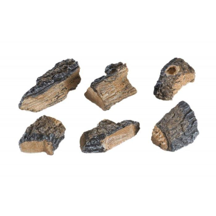 Real Fyre WCH-6-6 Hand Painted Charred Wood Chips - Set of 6 For Fireplace