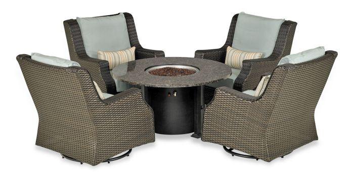 Patio Resort Rome Platinum 5-Pc Fire Chat Set - Canvas Spa