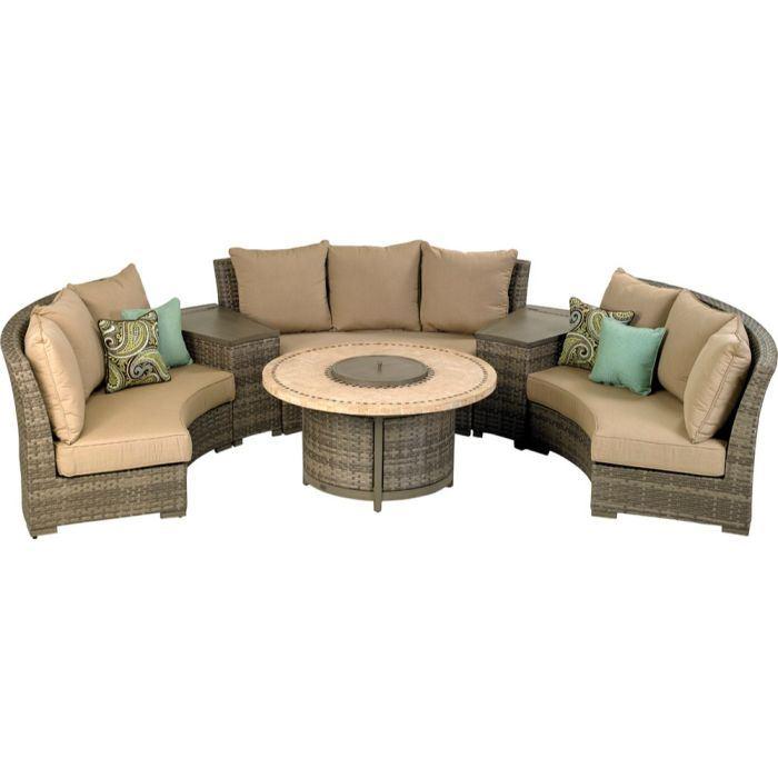 Patio Resort Bermuda Platinum Circular Sofa Set - Canvas Heather Beige