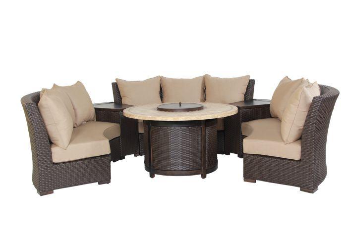 Patio Resort Bermuda 6-Piece Circular Sofa Set - Canvas Heather Beige