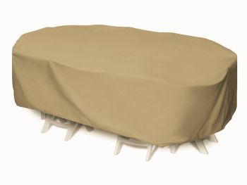 """Two Dogs 92"""" Oval/Rectangle Table Set Cover - Khaki"""