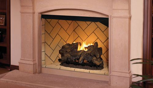 "50"" Vent-Free Firebox with Ivory Split Stacked Liner"