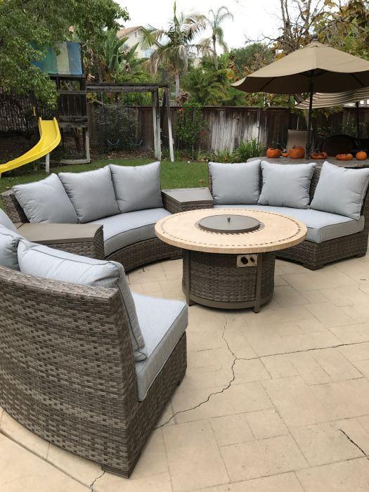 Patio Resort Bermuda Platinum Circular Sofa Set - Canvas Spa