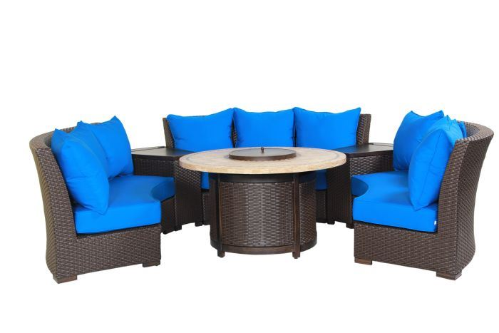 Patio Resort Bermuda 6-Piece Circular Sofa Set - Canvas Pacific Blue