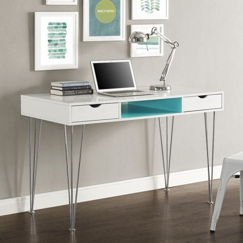 48 Inch Walker Edison Furniture AZ48CA1AQ Mid-Century Modern Hairpin Wood Computer Writing Desk Aqua Blue