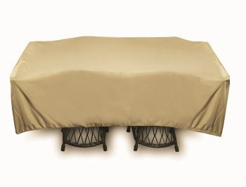 "Two Dogs 96"" Square Table Set Cover - Khaki"