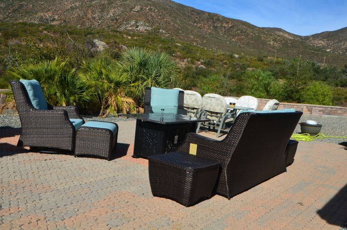 Patio Resort Rome 8-Pc Fire Deep Seating Group - Canvas Spa