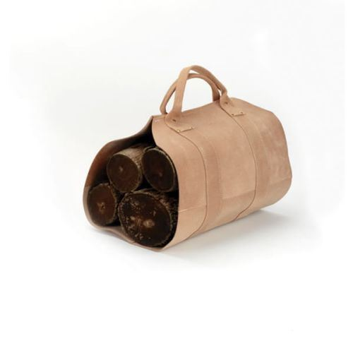 Rugged Cowhide Leather Log Carrier