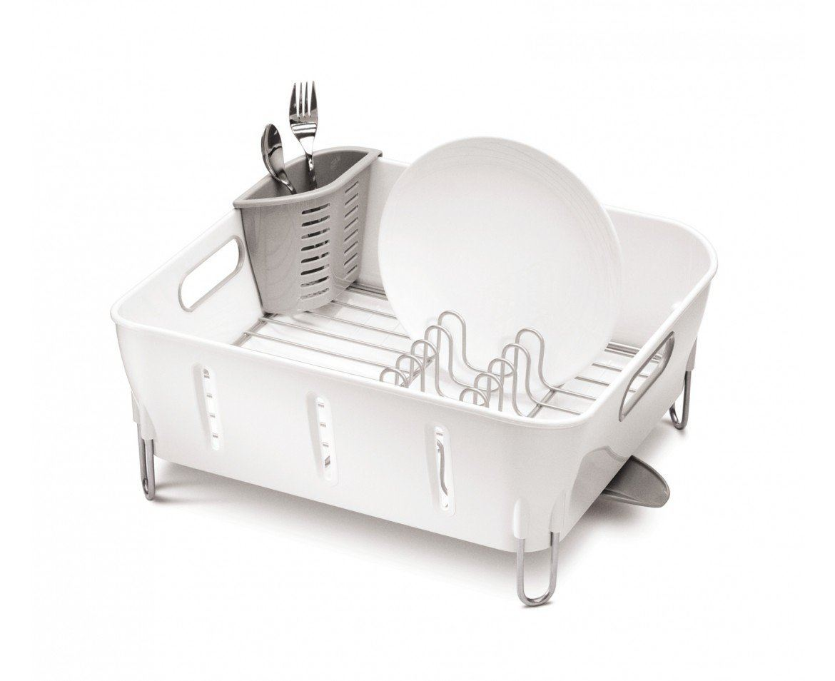 Simplehuman Compact Stainless Steel Dish Rack Sink Drainer in White or ...
