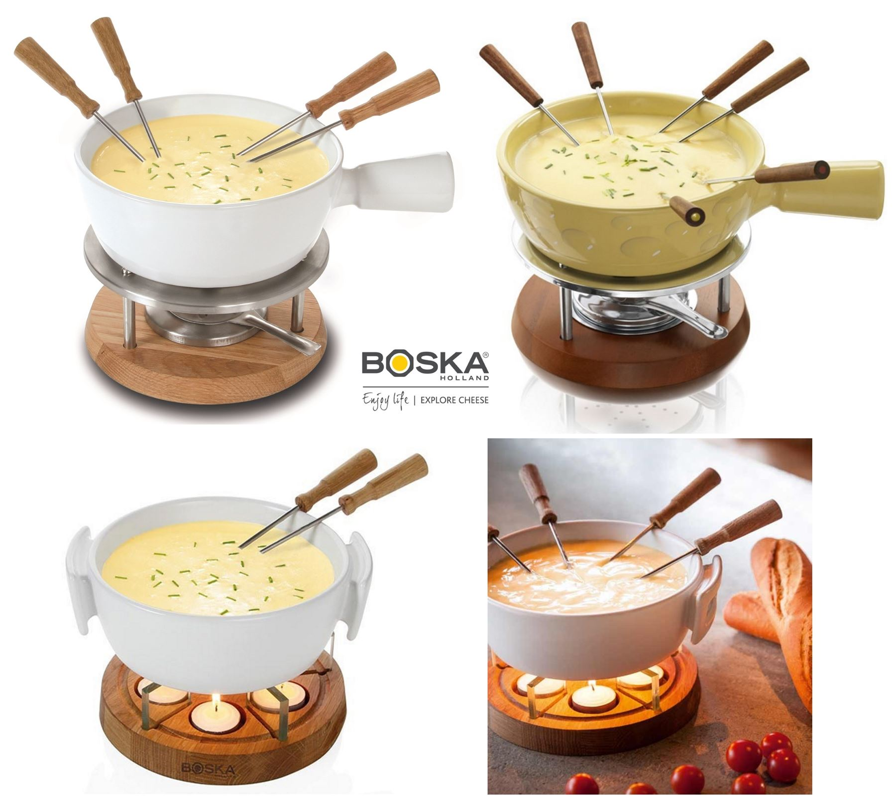 boska ceramic cheese fondue set 6 person or 4 person in cream or white ebay. Black Bedroom Furniture Sets. Home Design Ideas