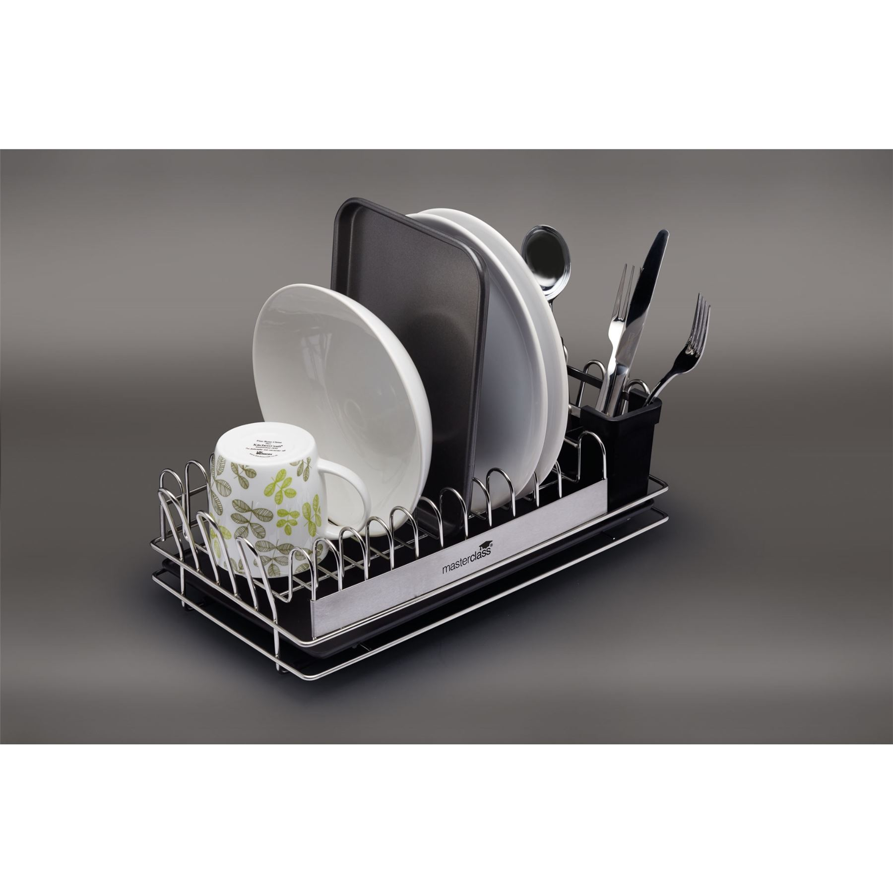 masterclass compact stainless steel dish drainer mcdishcomp ebay. Black Bedroom Furniture Sets. Home Design Ideas
