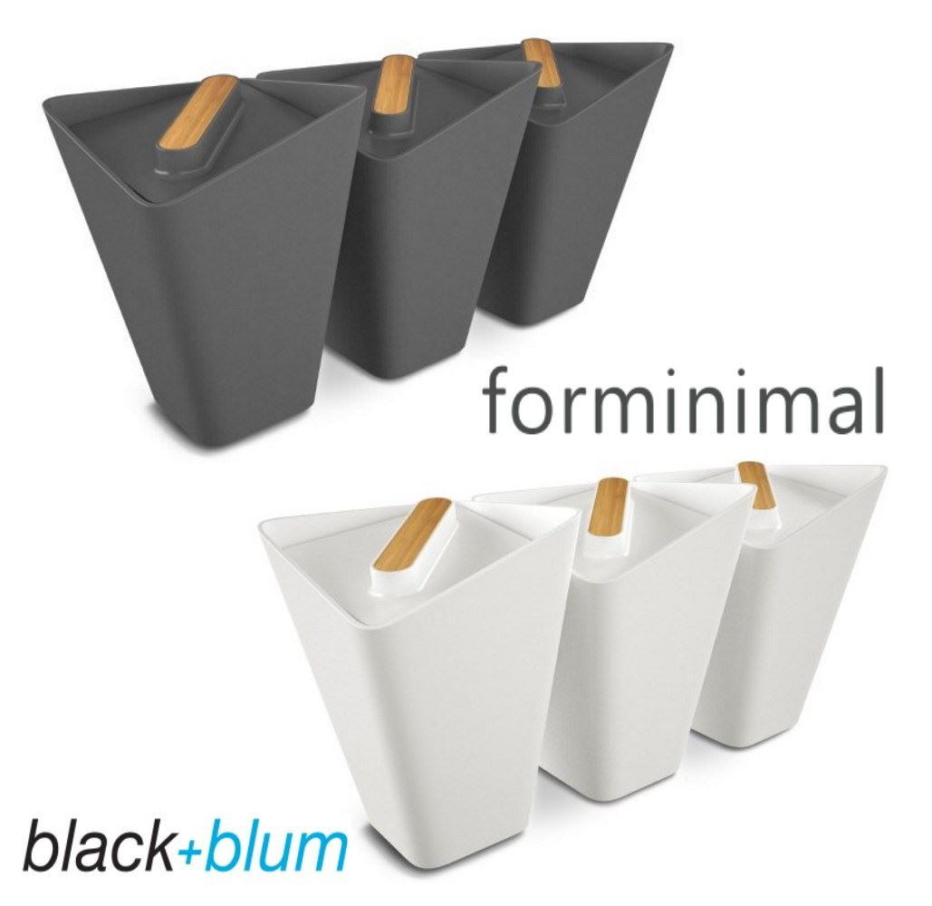 black blum forminimal storage jar canister set of 3 in white or grey. Black Bedroom Furniture Sets. Home Design Ideas