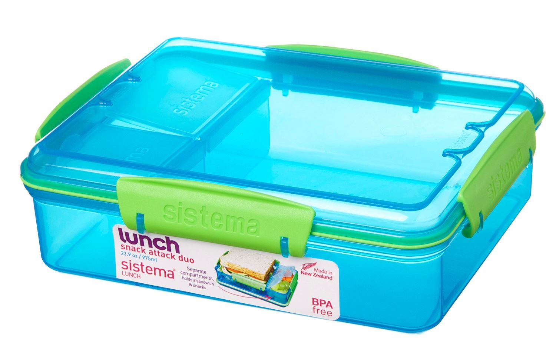 Sistema Snack Attack Duo To Go Airtight Lunch Box Tin
