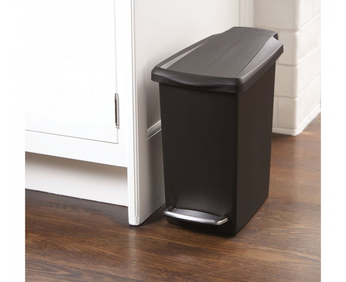 Simplehuman Plastic Slim 10L or 40L Pedal Waste Bin on Wheels, White Grey Black