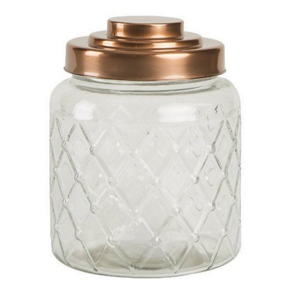 t g patterned glass storage jars with copper finish lids in various sizes ebay. Black Bedroom Furniture Sets. Home Design Ideas