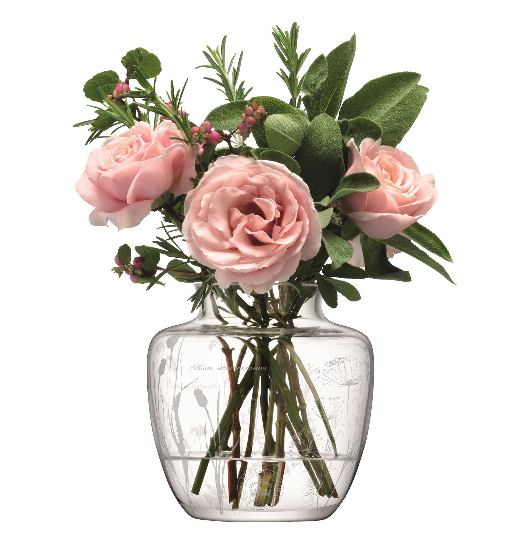 LSA Kew Gardens Glass Vase with Etched Herb Floral Design