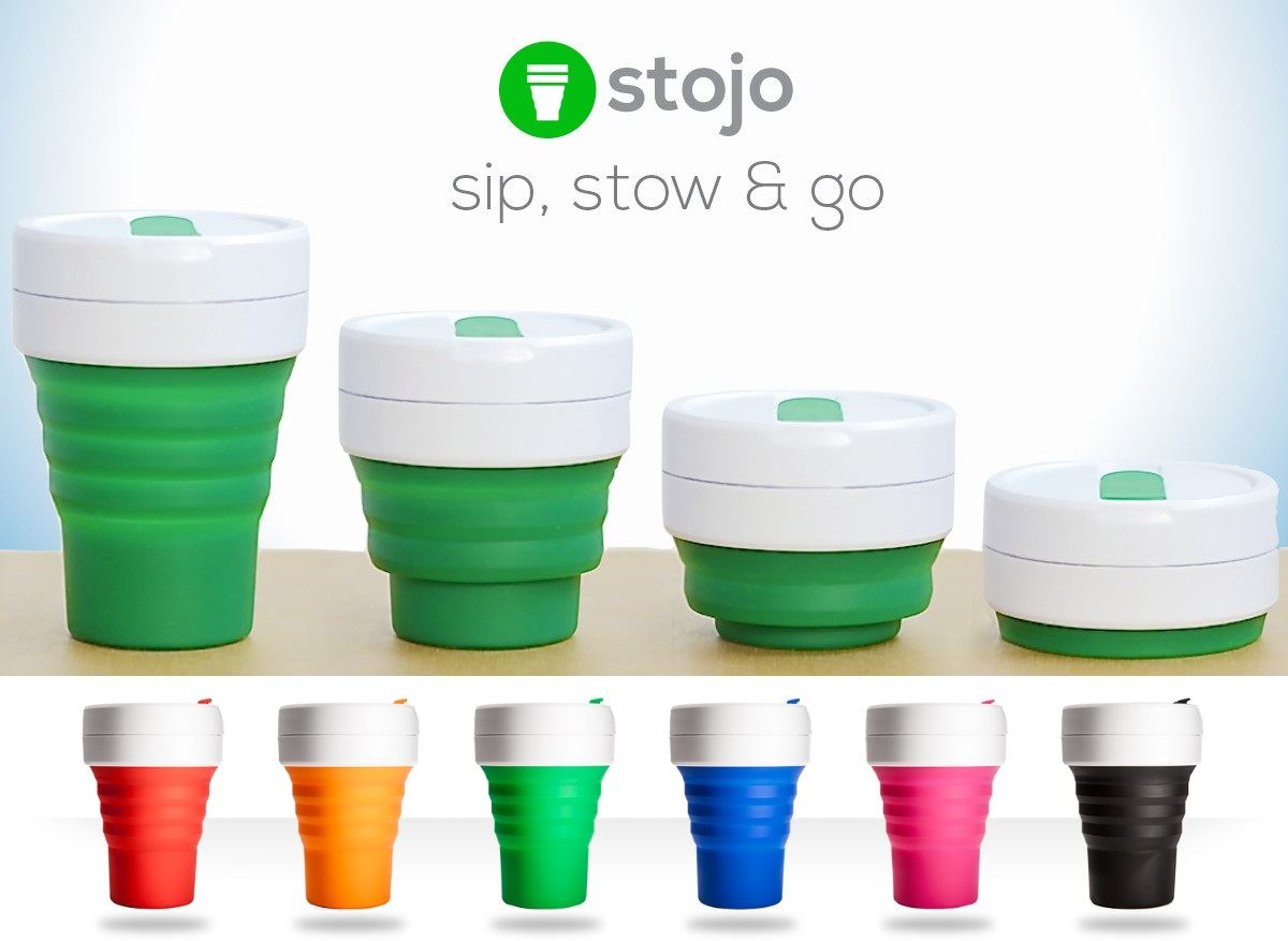 stojo collapsible silicone 12oz cup reusable leak proof. Black Bedroom Furniture Sets. Home Design Ideas