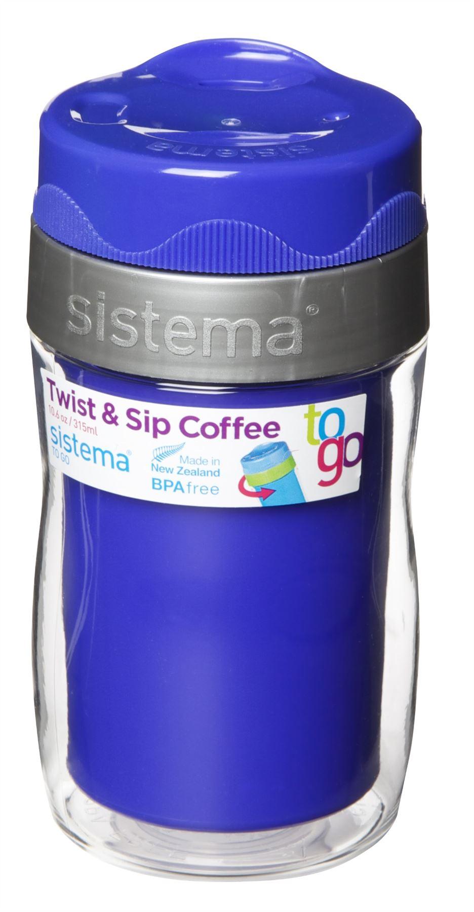 sistema twist 39 n 39 sip coffee to go travel mug thermos 490ml or 315ml all colours ebay. Black Bedroom Furniture Sets. Home Design Ideas