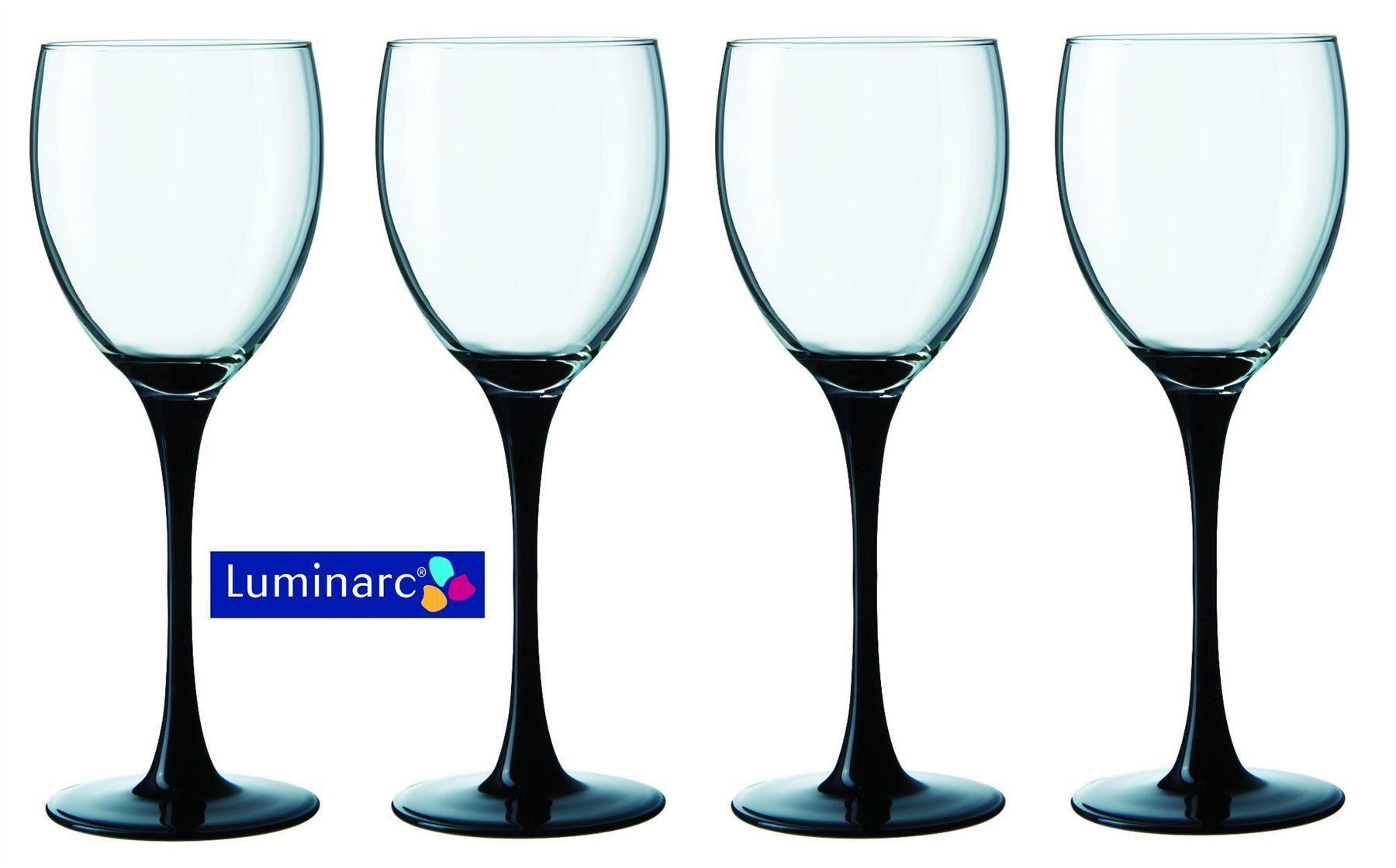 Luminarc Domino Set Of 4 Wine Glasses With Black Stem