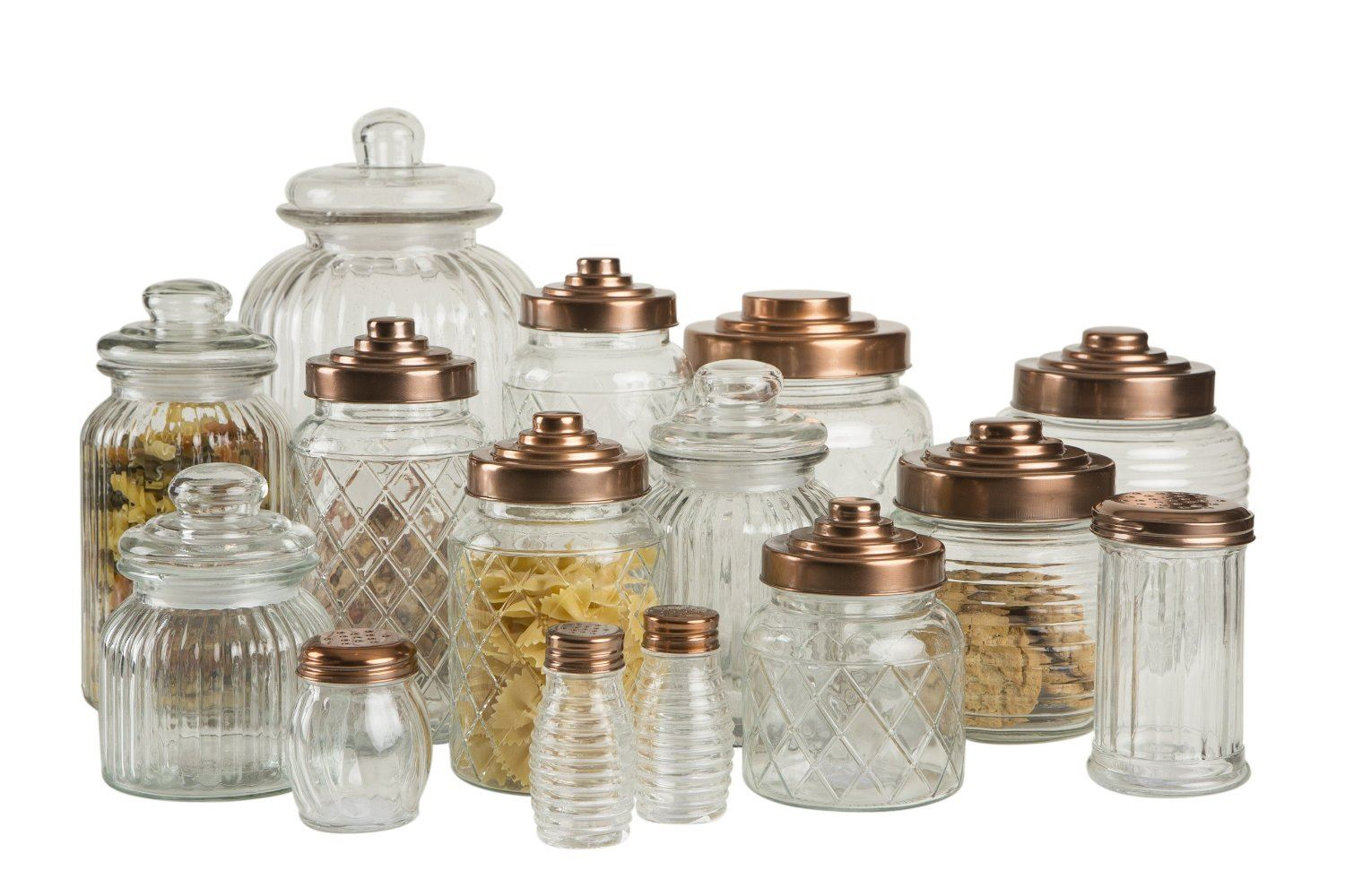 Copper Kitchen Canisters T Amp G Patterned Glass Storage Jars With Copper Finish Lids