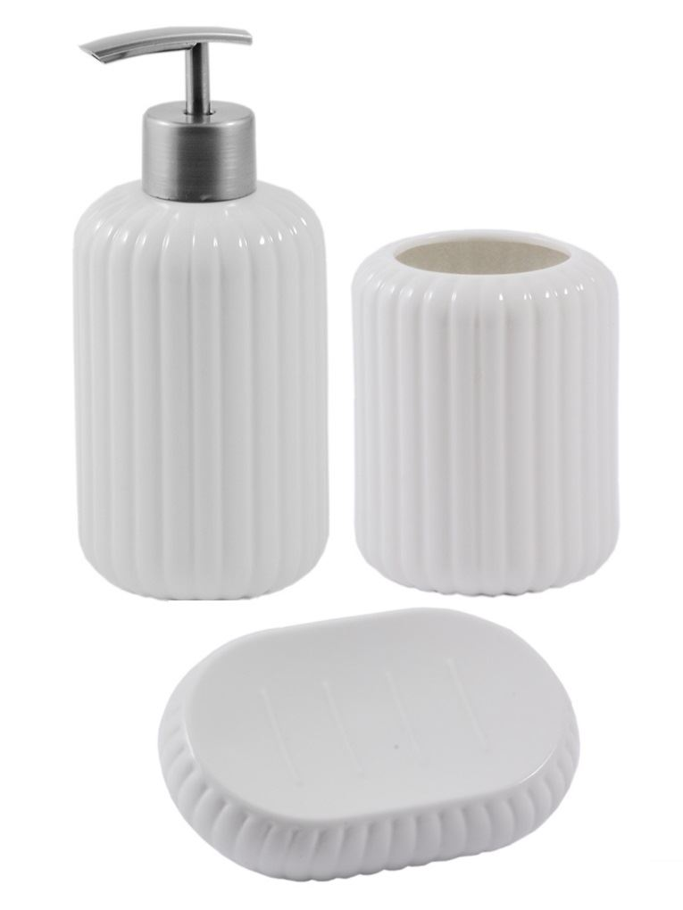 La porcellana bianca bathroom sets soap dish dispenser for Bathroom soap dispenser set