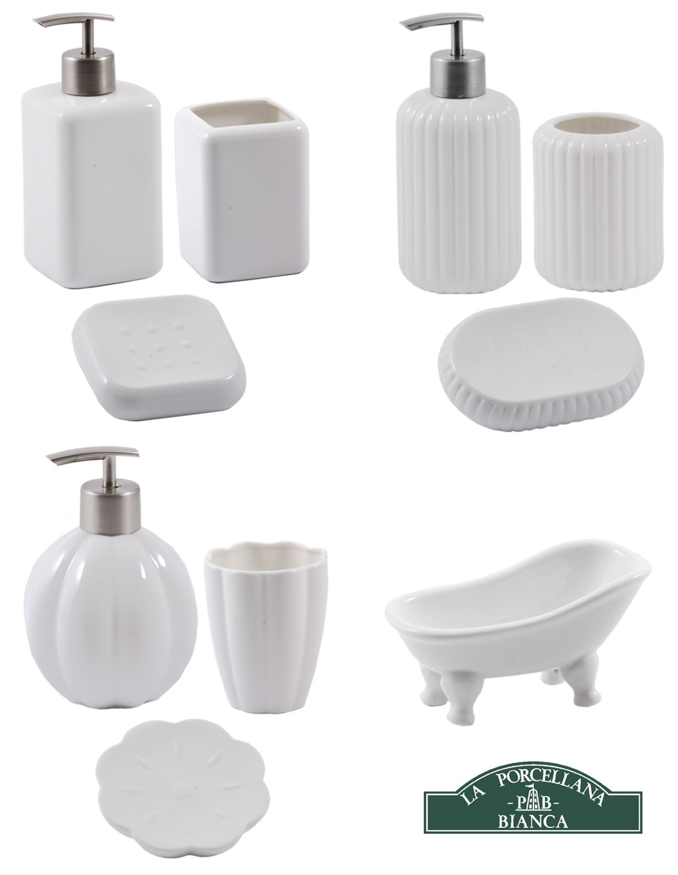 La porcellana bianca bathroom sets soap dish dispenser toothbrush holder - Bathroom soap dish sets ...