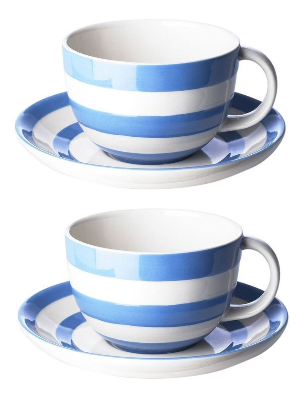 cornishware blau rot wei streifen 2er set 4 cappuccino tassen untertasse ebay. Black Bedroom Furniture Sets. Home Design Ideas