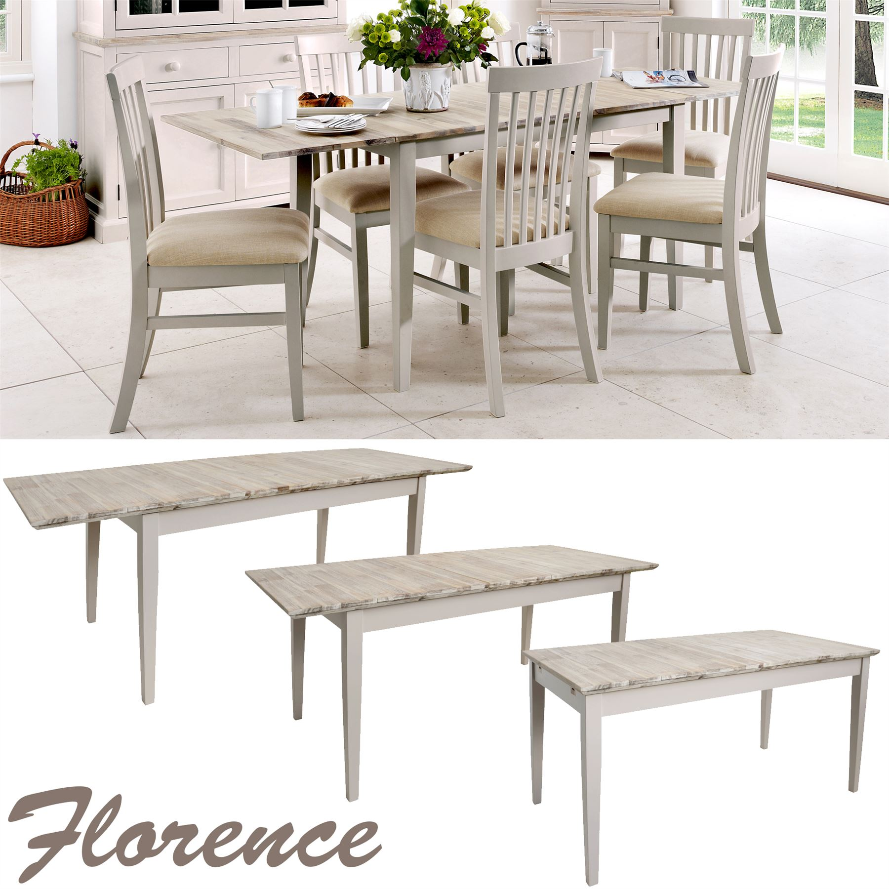 Rectangular Extendable Dining Table: Florence Rectangular Extending Table.Large Kitchen Dining