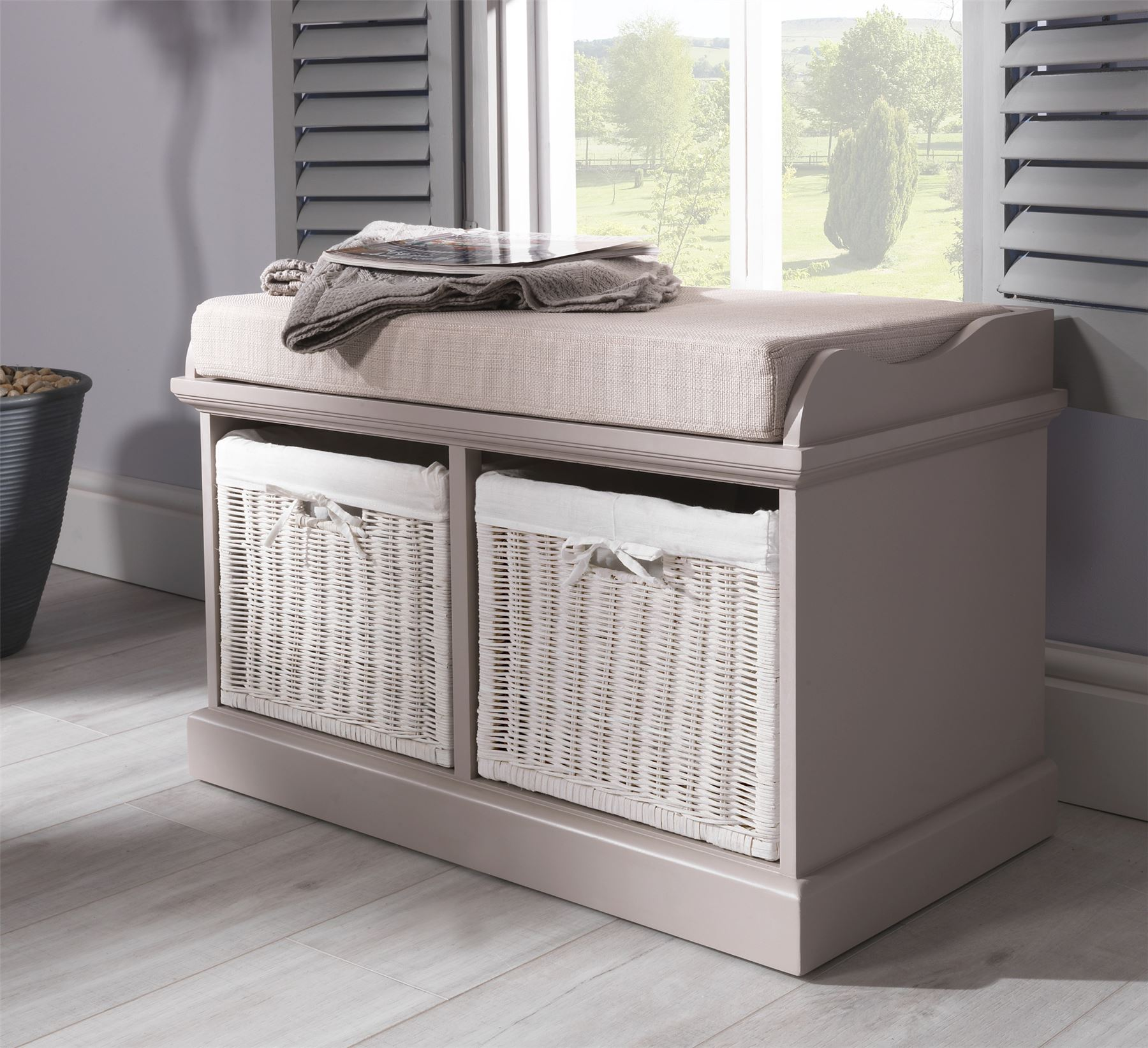 Tetbury Bench With 2 White Baskets Hallway Storage Bench With Cushion 4 Colours Ebay