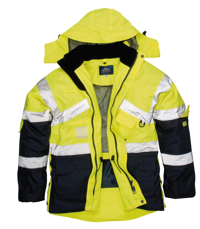 hi vis breathable safety jacket coat radio loop d ring. Black Bedroom Furniture Sets. Home Design Ideas