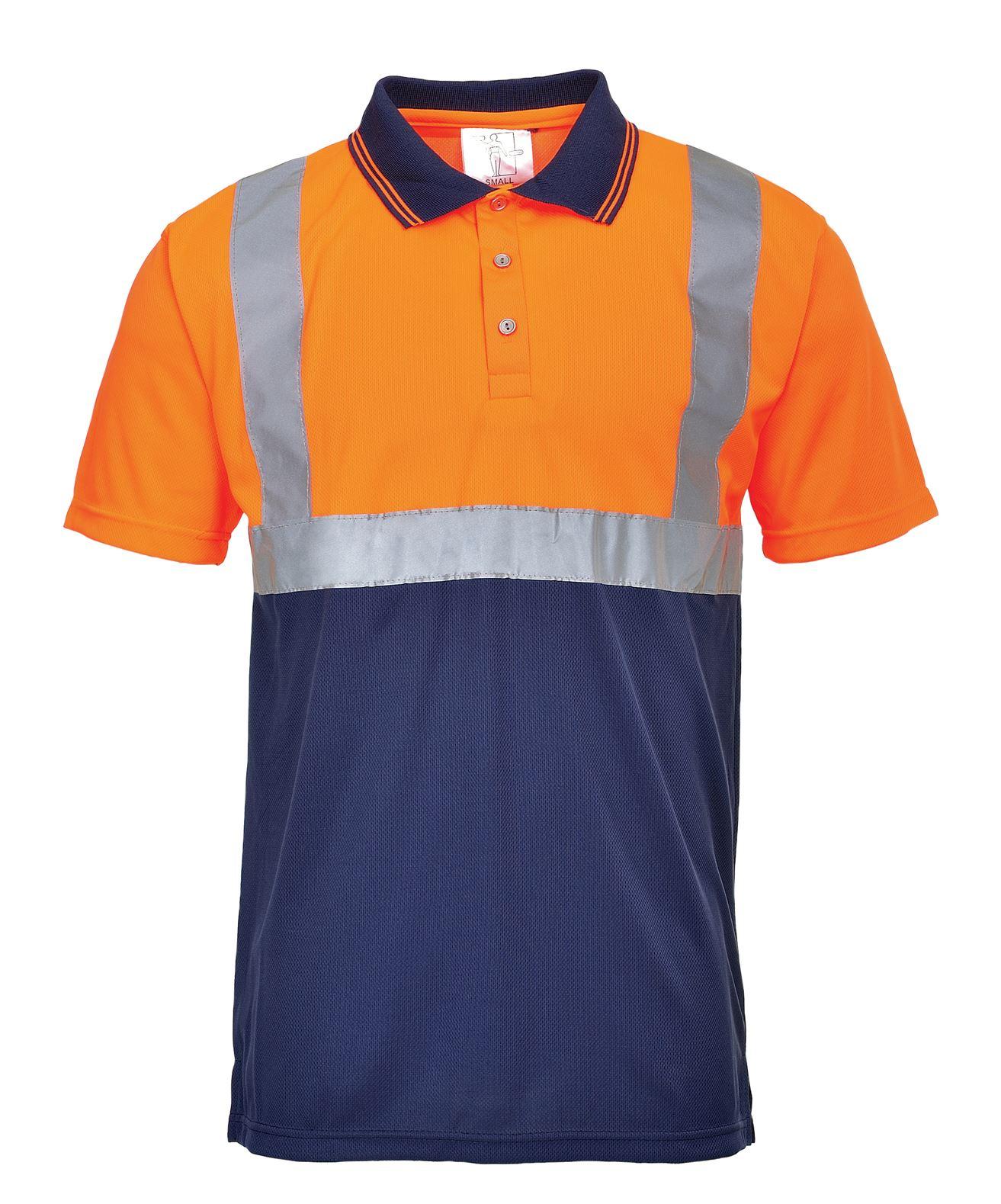 Hi vis 2 tone polo shirt short sleeve high visibility for Hi vis polo shirts with pocket
