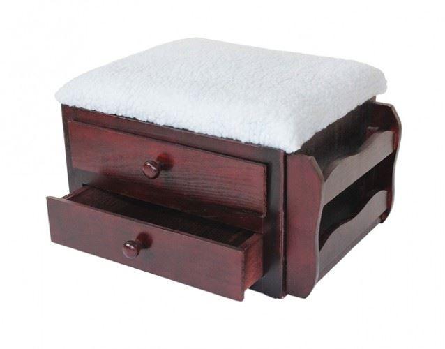 Betterlife Storage Wooden Footstool Foot Leg Rest Stool