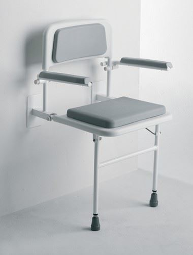Wall Mounted Fold Away Shower Seat Bathroom Stool With Cushioned Backrest Arms