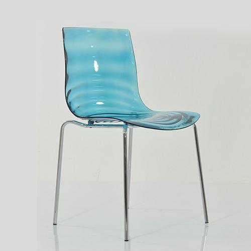 Swirl Gel Plastic Dining Chair Metal Legs