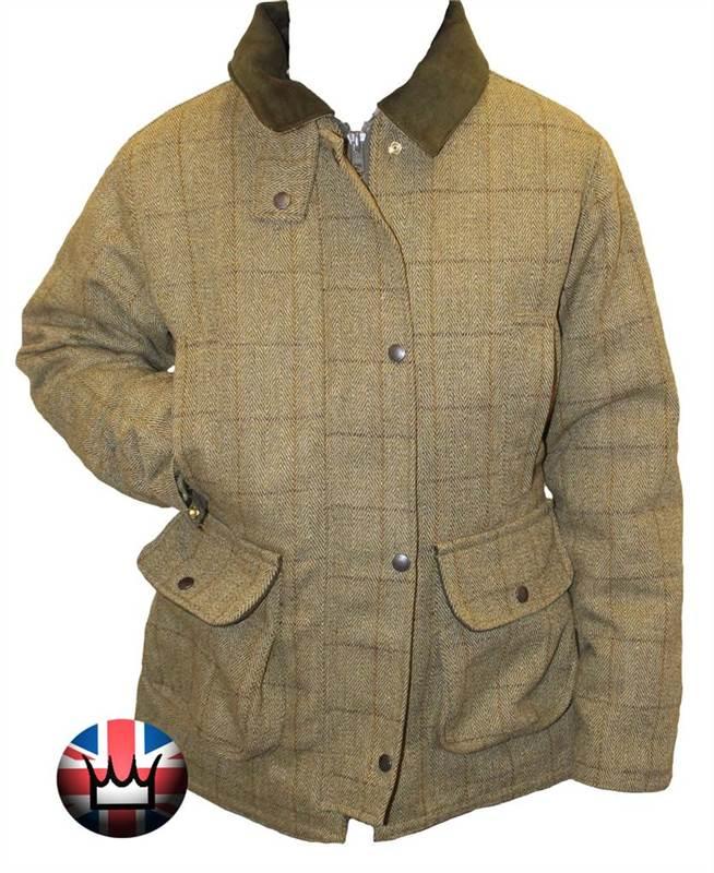 WWK Ladies Tweed Fitted Waterproof Jacket Green Wool Women Outdoor