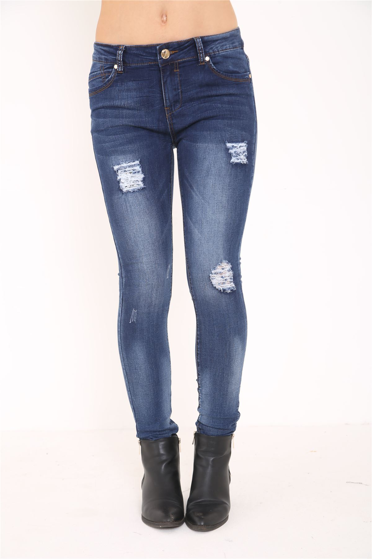 Ladies womens jeans high waisted embroidered denim skinny