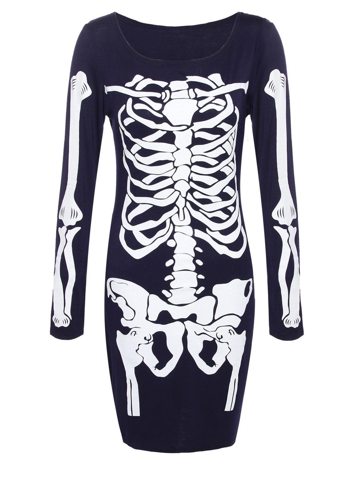 Womens Ladies Halloween Dress Bodycon Skeleton Bones Party Fancy Dress Costume