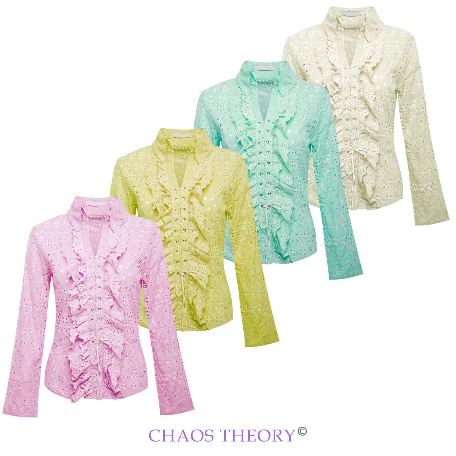 womens ladies cotton cut out retro lace floral shirt blouse dress